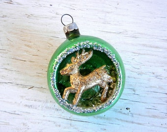 Gold Reindeer Diorama Ornament | Green Glass Ornament | Japan | Vintage Christmas