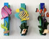 Whimsical Tropical Clothespin Magnets