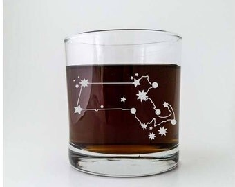 Massachusetts State Constellation Stars | Etched Cocktail Old Fashioned Glass