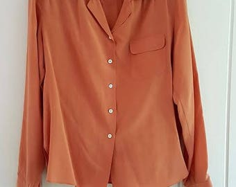 Vintage 70s Russet Long Sleeve Blouse Shirt from Schwabe May Ollie by Mui, Size 12. All Silk