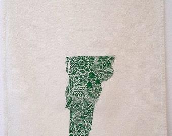 Vermont Tea towel, screen printed state of Vermont, cotton tea towel