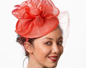 Fascinator hat Coral fascinator veil headband wedding hat MALIKA MALKA