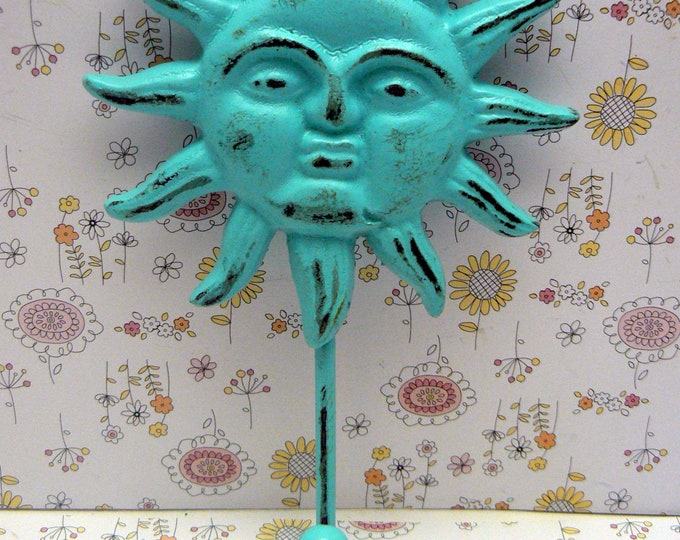 Sun Face Cast Iron Wall Hook Turquoise Shabby Chic Sunshine Patio Porch Pool Home Decor