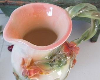Nasturtium Handmade Pottery Pitcher By Lark Roderigues