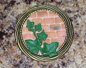 Ivy on Brick Antique Bronze Brooch Lapel Pin Polymer Clay Brick Wall Climbing Ivy