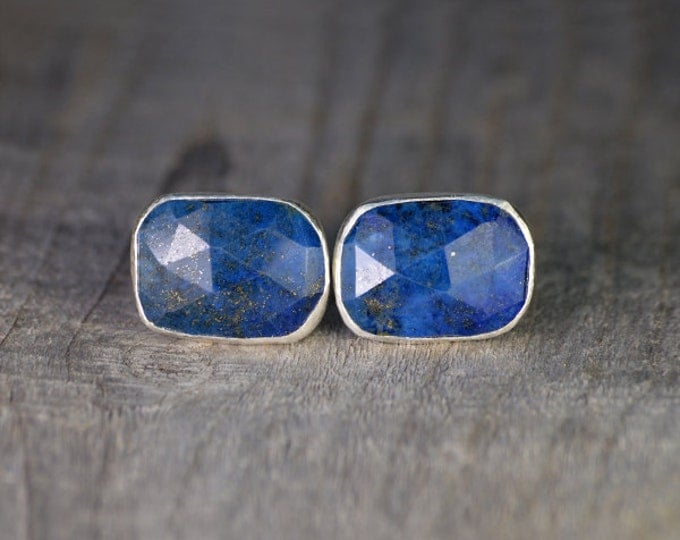 Lapis Lazuli Cufflinks Set In Sterling Silver, Something Blue Wedding Gift For Him, Handmade In UK