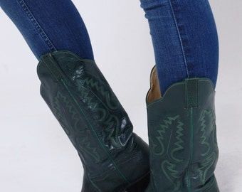 Vintage 80s GREEN Leather WESTERN Boots Panhandle Slim Cowboy Boots LIZARD Boho Boots Size 8.5
