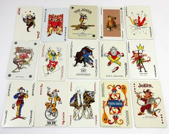 Vintage Playing Cards / All JOKER Color Game Cards / DeStash Assortment / Teddy Bear Card / Rodeo Bull / Collectible Swap Crafting Cards