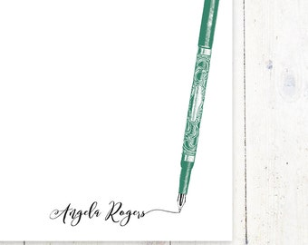 personalized notePAD - ANTIQUE FOUNTAIN PEN - stationery - stationary - letter writing paper