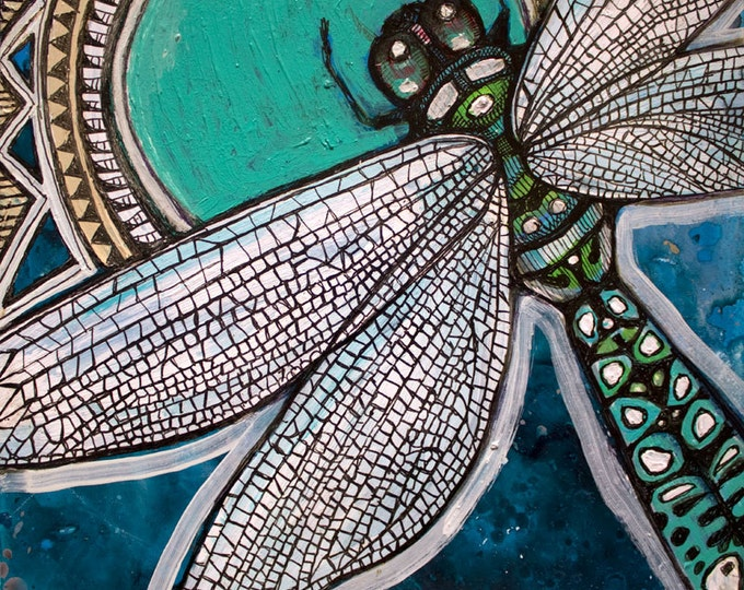 Blue Dragonfly Miniature Painting by Lynnette Shelley