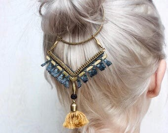 Lace necklace & hair accessory - GOMA - Black lace and tassel, burgundy lace and tassel or teal lace and mustard tassel