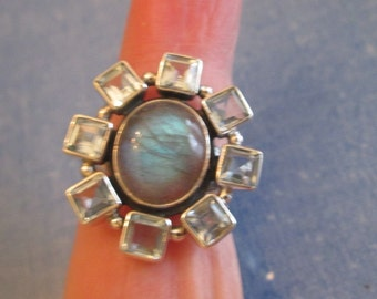 RING   - LABRADORITE - Blue TOPAZ  - 925 - Sterling Silver - size 7 blue406