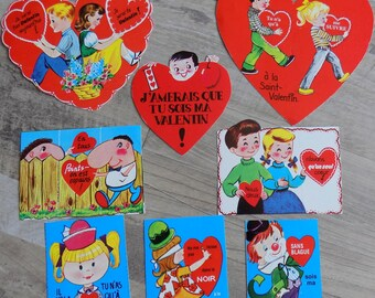 Vintage Lot of 8 French/Francais Valentines Cards, unused