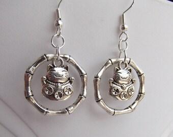 Lucky Cat Maneki Neko Charm Bamboo Silver Earrings