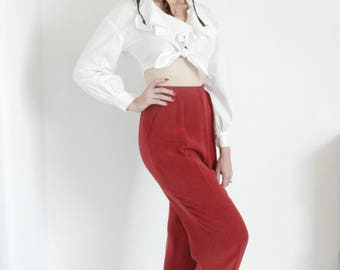 "1990s Rust Silk Trousers | Vintage 90s Red High Rise High Waist Pants | 29x29 29""w Medium M"