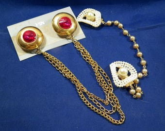 Vintage Faux Pearl Sweater Clip/Guard & Double Goldtone Pin Sets, Pink Raspberry Stone Costume Jewelry