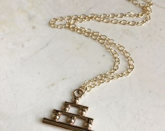 Step Pyramid Charm Necklace. Long Gold chain. Simple gold Nevklace. Modern Boho Dtyle. Layering Nevklace. Rose Gold. Gold Fill.