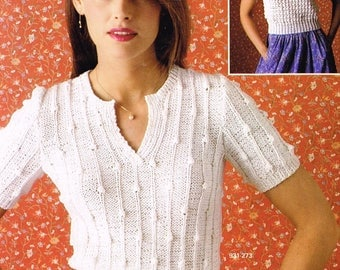 Downloadable Vintage Knitting Pattern - Crochet Top & Knitted Top - PDF Pattern - retro 70s - short sleeve shirt