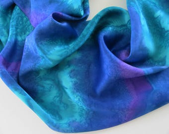 Teal Silk Scarf, Hand Painted Teal Silk Scarf, Teal Scarf, Hand Painted Blue Silk Scarf, Large Silk Scarf, Blue Scarf, Purple Silk Scarf