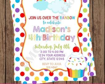 Custom Printed Rainbow Birthday Invitations, Custom Printed - 1.00 each with envelope