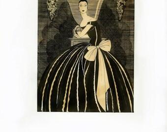 Art Deco Fashion Print Illustration, Chic Girly Room Decor, Boudoir Wall Art, Helen Dryden, Georges Lepape, Vintage Fashion Book Page Art