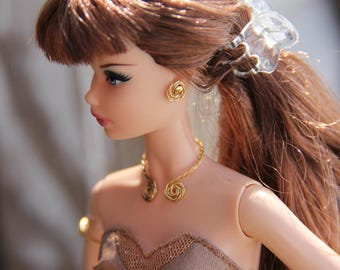 """Gold Twisted Wire Loop Necklace Earrings & Arm Cuff Doll Jewelry Set fits 11 1/2 - 12"""" 1/6th Scale Fashion Dolls"""
