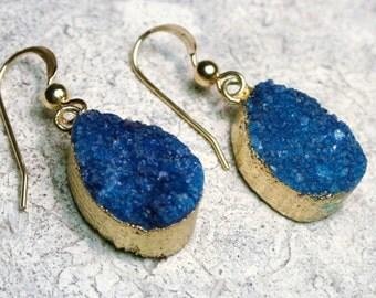 Blue Druzy Earrings, Blue Druzy Jewelry, Druzy Earrings, Blue Sparkly Earrings, Gold and Blue, Natural Stone, Gift for Her, Geode Earrings