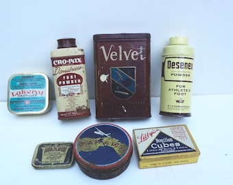 Lot of 7 Vintage Mostly Medicinal Tins There Is Wear Rust Scratches See Description Below