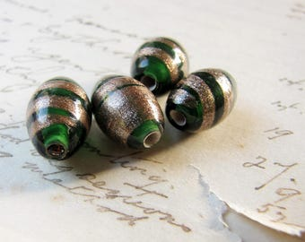 vintage green glass beads - lampwork made with gold aventurine stripes - 4 beads