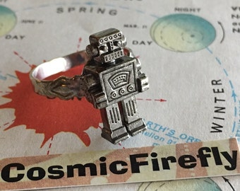 Novelty Robot Ring Steampunk Ring Men's Ring Woman's Ring Boy's Ring Girl's Ring Silver Plated Adjustable Band