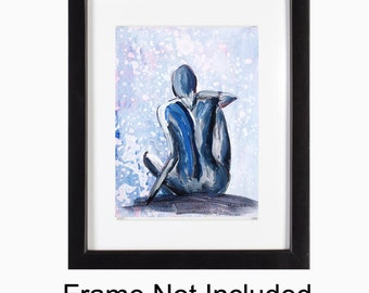 Abstract Sensual Female Figure Print - Moongirl, Peaceful, Emotive Artwork