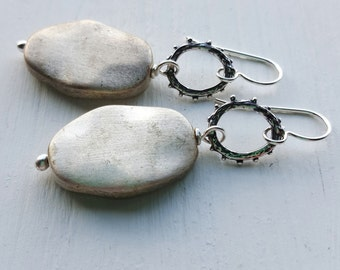 looking glass - earrings - vintage lucite and sterling