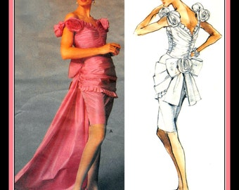 Vintage 1989-DESIGNER EVENING GOWN-Vogue Sewing Pattern-Two Styles-Ruched-Fitted Bodice-Bustle Back Bow-Fabric Roses-Train-Size 6-Rare