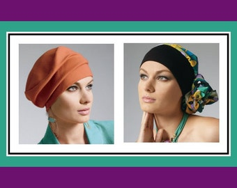 HATS-HEAD WRAPS-Sewing Pattern-Seven Glamorous Styles-Hats with Ruching-Contrast Band-Side Drape-Brims-Stretch Knits-Uncut-All Sizes