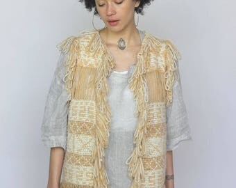 pathways -- vintage 60s knit and woven fringy folk art vest S/M