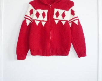 Vintage Red and Cream Child's Sweater