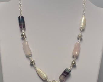 Fluorite, Rose Quartz and Freshwater Pearl Necklace