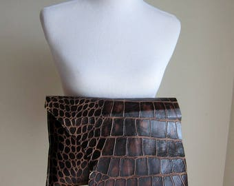 LEATHER Large Oversized Huge Clutch Bag Purse Shoulder Strap Cross Body - Raw, Rustic with Raw Edge & Fringe - Textured Decorative Leather