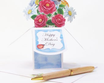 Mother's Day Pop Up Flower Bouquet Handmade Greeting Card - Best Mom Ever - Floral Greeting Card - Gift Card Holder - Custom Dimensional
