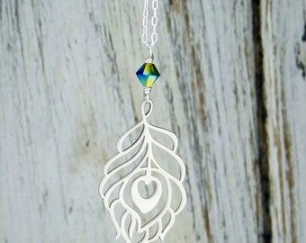 Peacock Feather Necklace in Sterling Silver and Metallic Peacock Blue Green Swarovski Crystal