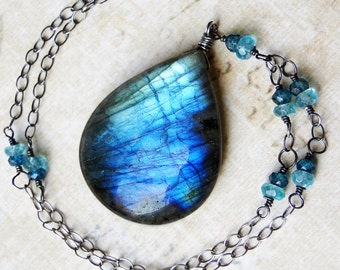 Labradorite Necklace, BIG Labradorite, London Blue Topaz, Oxidized Sterling Silver - Pacifica by CircesHouse on Etsy