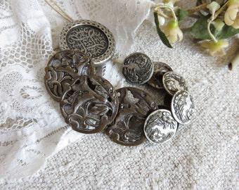 Batch 11 Vintage French Art Nouveau Metal Buttons, Vintage Costume Accessories, Vintage Sewing, Vintage Fashion Design