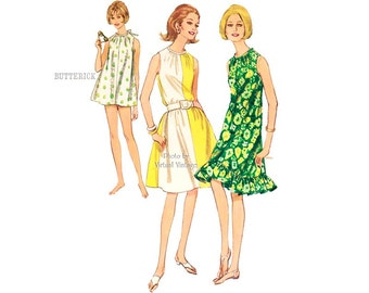 1960s Beach Cover Up Pattern Butterick 4056 Vintage Easy Sewing Cover-up Dress Patterns Uncut