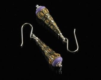 Filigree Earrings, Boho Earrings, Clay & Brass Jewelry, Unique Earrings, Boho Jewelry Gift for Girlfriend,  Cone Earrings, Bohemian Earrings
