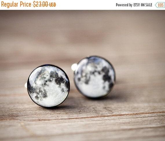 Full moon cufflinks - Space Cufflinks - Gray cufflinks - Fathers Day gift (C027)