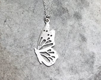 Butterfly - Butterfly Necklace - Handcrafted Silver Jewelry - Silver Butterfly - Pierce and Cut - One of a Kind - Graduation - Mother's Day