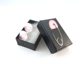 "Safety Pin Earrings.  Post or Stud Pink Safety Pin Earrings in Hand Decorated Gift Box.  SMALL and Lightweight 5/8"" or 16 mm Round."