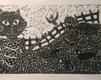 """Limited edition of 10  linoleum prints """"Farm Jamboree"""", hand carved and hand printed by Laura Jean Mclaughin"""
