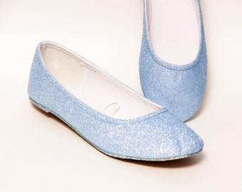 Glitter - Baby Blue Ballet Flat Slipper Custom Shoes