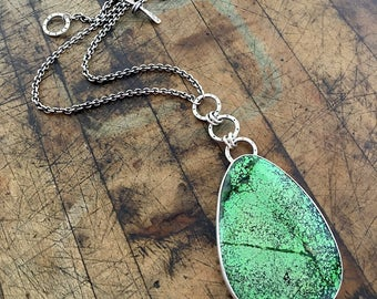 Green Turquoise and Silver Pendant Necklace -One of a Kind - Adjustable Length